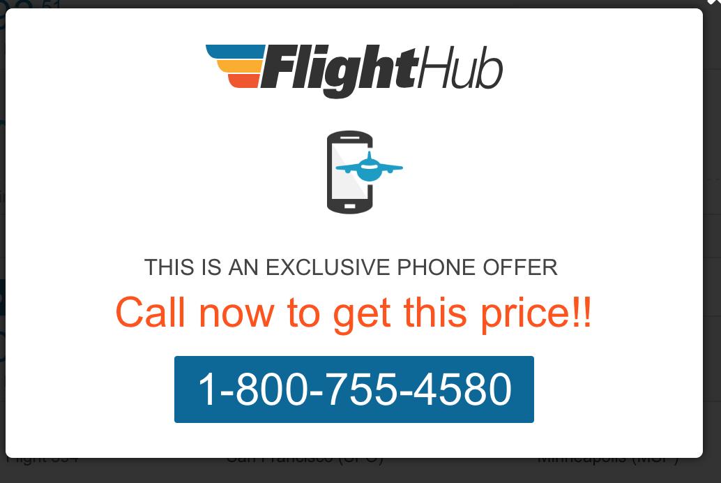 The pop-up on Flight Hub
